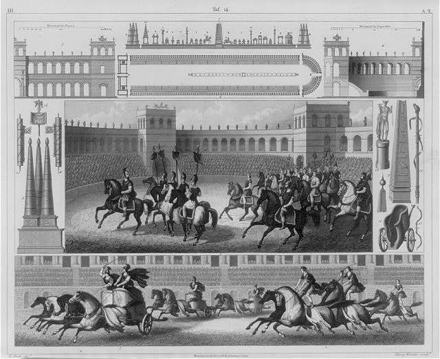 [Details from the Circensian games, Ancient Rome: fig. 1 procession on horseback around the spina; fig. 2 racing on hrosebck; fig. 3 chariot races; fig. 4 groudn plan of the Circus Neronis]