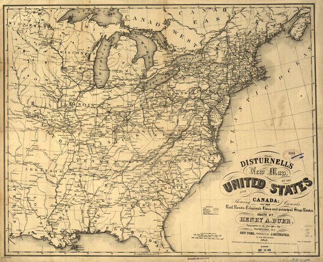 Disturnell's new map of the United States and Canada showing all the canals, rail roads, telegraph lines and principal stage routes.