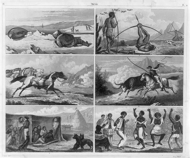 [Fig. 1 Greenland seal-hunting; fig. 2 Brazilian Indians bird-shooting; fig. 3 attack by Guaycouros horseman (Brazil); fig. 4 cattle-hunting on the Pampas (Brazil); fig. 5 Negro dances at Sao Palo [Brazil]; fig. 6 South Patagonian huts and graves]