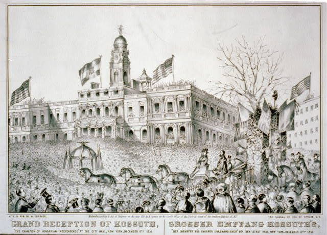 "Grand reception of Kossuth: ""the champion of Hungarian Independence"" at the City Hall, New York, December 6th 1851 Grosser Empfang Kossuth's: der Kaempfer fur Ungarn's Unabhaengigkeit"" bey dem Stadt Haus, New York, December 6ten 1851."