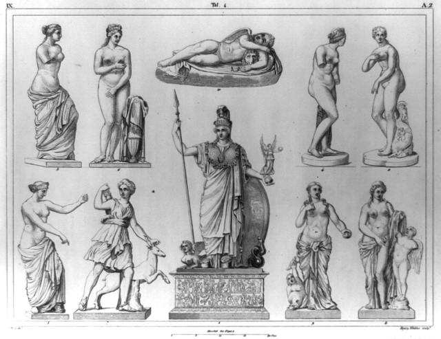 [Greek and Roman sculpture, including Phidias' statue of Pallas in the Parthenon, several of Venus, Diana the Huntress, and others] / G. Heck, dirt. ; Henry Winkles, sculpt.