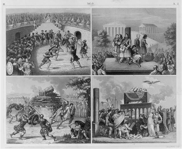 [History and Ethnology of Ancient Rome: 4 illus: fig. 1 Exhibition of captives in the forum; fig. 2 Gladiators in the theatre; fig. 3 Gladiators at funerals; fig. 4. Funeral of Emperors]