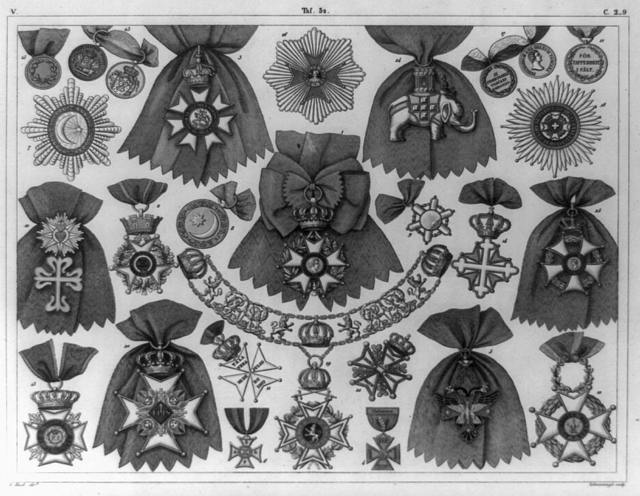 [Insignia for various orders of France, Great Britain, Denmark, Greece, Spain, Ottoman Empire, etc., including medals and badges] / G. Heck, dirt. ; Schweissinger, sculp.