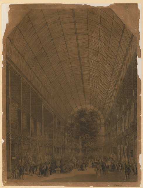 [Interior view of the Crystal Palace during the Great Industrial Exhibition of 1851 showing statues on the sides, fountain at center with a large tree in the background, and crowds of spectators]