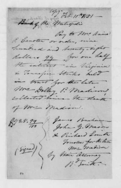 James Buchanan to Annie P. Causten, February 10, 1851. Order to Pay.