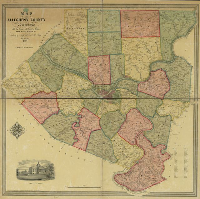 Map of Allegheny County, Pennsylvania, with the names of property-holders : from actual surveys /