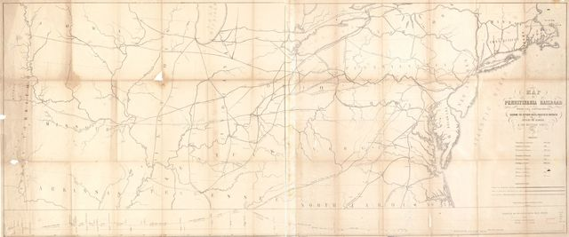 Map of Pennsylvania Railroad with its connections, showing the different routes, projected or constructed between the seaboard & the western states.
