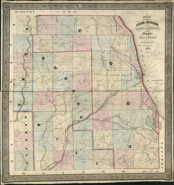 Map of the Counties of Cook and DuPage, the east part of Kane and Kendall, the north part of Will, state of Illinois /