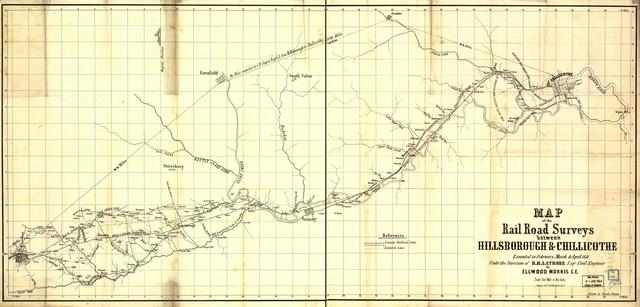 Map of the rail road surveys between Hillsborough & Chillicothe. Executed in February, March & April 1851 under the direction of B. H. Latrobe, civil engineer,