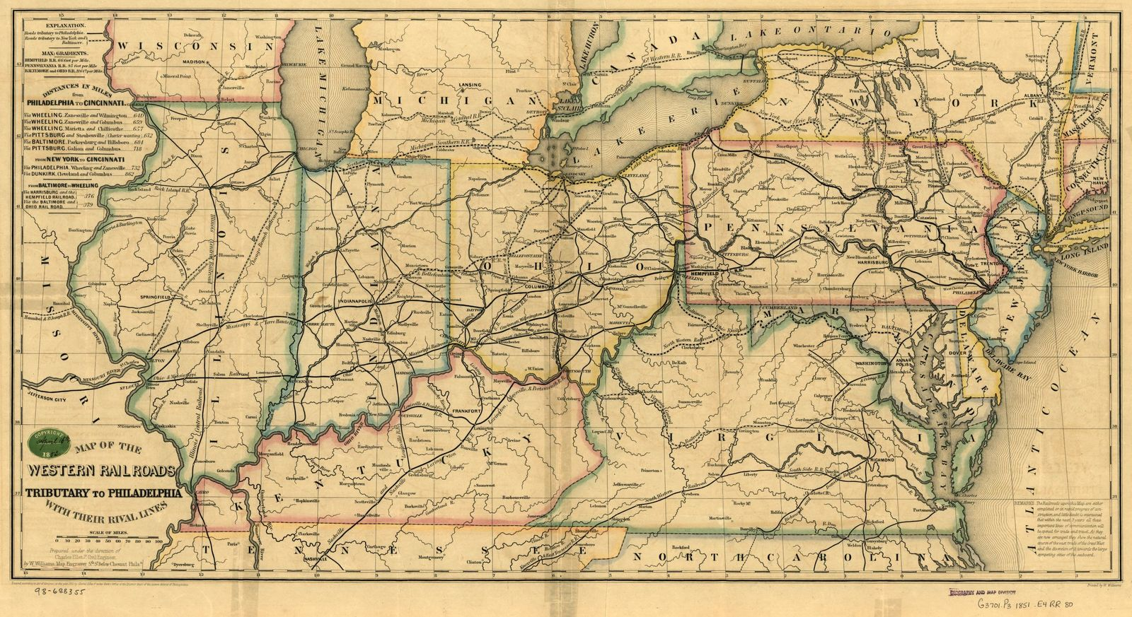 Map of the western railroads tributary to Philadelphia, with their rival lines; prepared under the direction of Charles Ellet Jr., Civil Engineer.