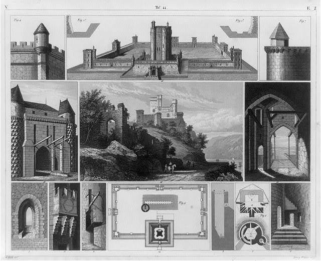 [Medieval fortifications - illus. of ditches, bridges, outworks, gates, towers, battlements, turrets, machicoulis, platforms, windows, loopholes, donjons and subterranean  space]