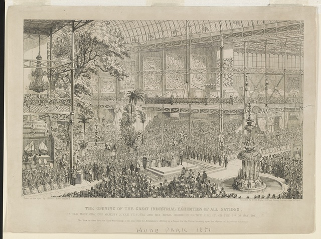 Opening of the Great Industrial Exhibition of all nations, by her most gracious majesty Queen Victoria and his royal highness Prince Albert, on the 1st of May, 1851 / taken on the spot by George Cruikshank.