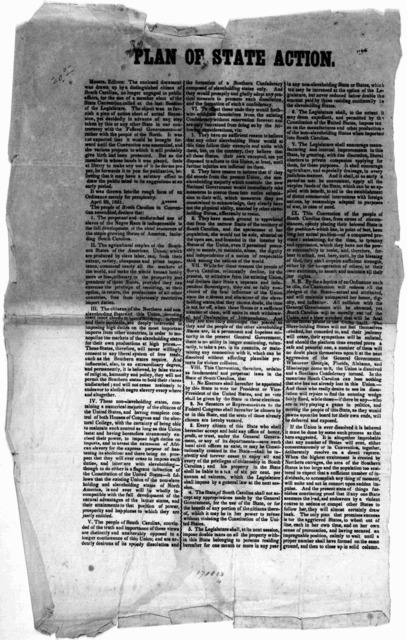 Plan of state action. Messrs. Editors. The enclosed document was drawn up by a distinguished citizen of south Carolina, no longer engaged in public affairs, for the use of a member elect of the State convention called at the last session of the