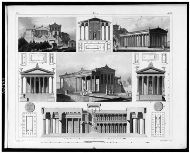 [Plans, sections, and elevations of classical Greek and Roman temples] / G. Heck, dirt. ; Henry Winkles sculp.