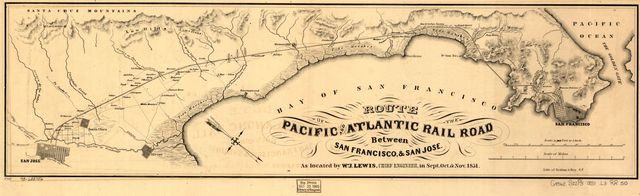 Route of the Pacific and Atlantic Rail Road between San Francisco, & San Jose, as located by Wm. J. Lewis, Chief Engineer, in Sept. Oct. & Nov. 1851.