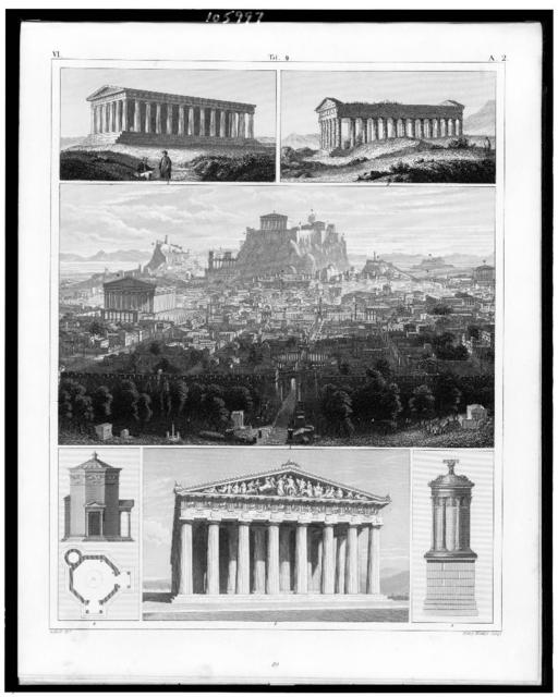 [Six figures: 1. View of ancient Athens; 2. Western front of the Parthenon; 3. The temple of Theseus; 4. The Tower of the Winds; 5. The Choragian monument of Lysicrates; 6. Temple of Segesta in Sicily] / G. Heck, dirt. ; Henry Winkles sculp.