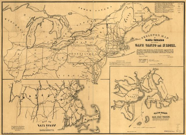 Skeleton map of rail-roads between Cape Canso and St. Louis,