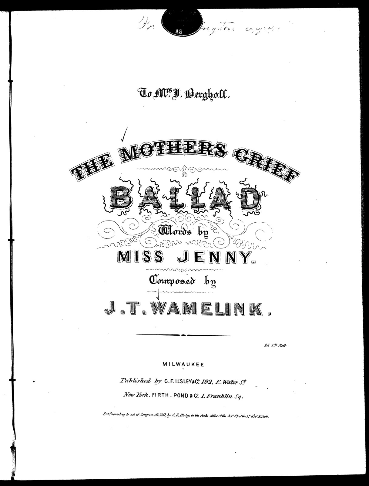 The  mother's grief, ballad
