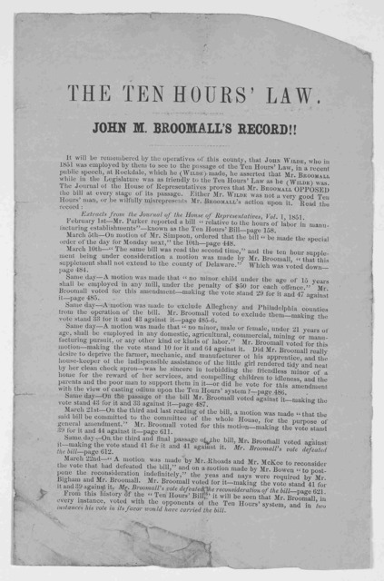 The ten hours' law. John M. Broomall's record!! [1851?].