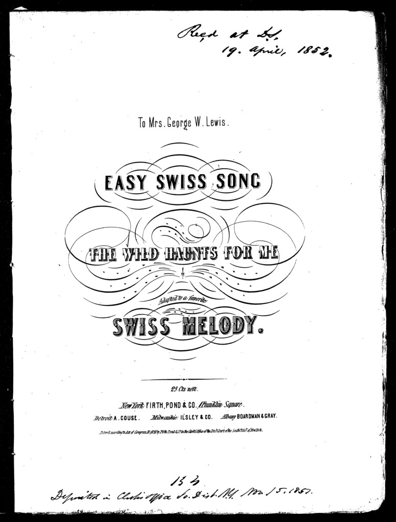 The  wild haunts for me, easy Swiss song