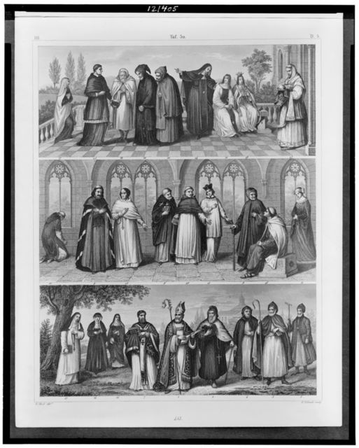 [Three illustrations depicting saints, including St. Augustin, St. Antony, and St. Basil; Armenian and Maronite patriarchs; and monks and nuns of various orders, including Benedictine, Carmelite, and Dominican] / G. Heck, dirt. ; W. Hohneck sculp.