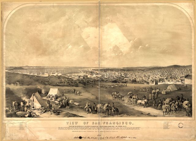 View of San Francisco, Taken from the Western Hill at the foot of Telegraph Hill, looking toward Ringon Point and Mission Valley / / drawn from nature by Henry Bainbridge and Geo. W. Casilear ; lith. of Sarony & Major.