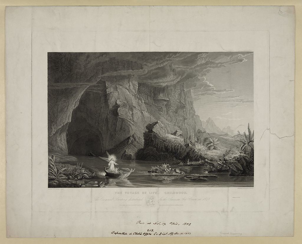 Voyage of life - childhood The original painting distributed by the American Art Union in 1848 / / painted by Thomas Cole ; engraved by M. Enzing-Müller.
