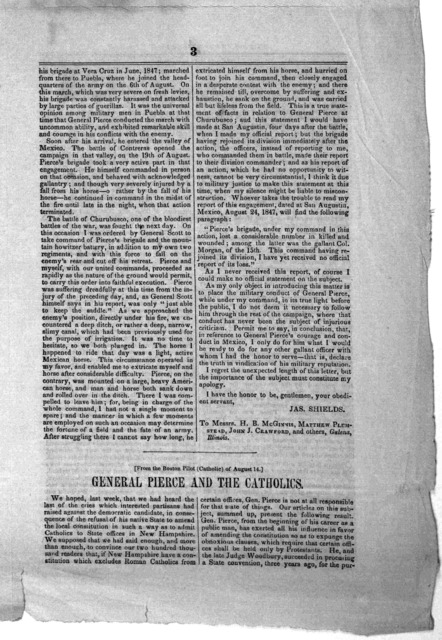 1. Letter of Hon. James Shields. 2. An article from the Boston pilot, exposing the falsehoods of the Scott Whigs respecting General Pierce. 3. Extracts from speeches of General Franklin Pierce before the constitutional convention, and before the