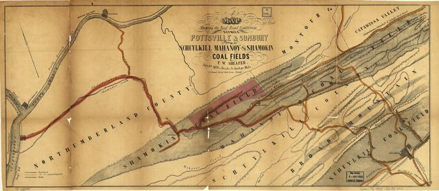 A map showing the rail road connection between Pottsville & Sunbury through the Schuylkill Mahanoy and Shamokin coal fields, July 9th 1852.