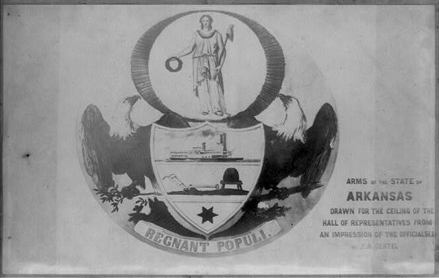Arms of the state of Arkansas, drawn for the ceiling of the Hall of Representatives from an impression of the seal by J.A. Oental