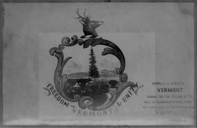 Arms of the State of Vermont, drawn for the ceiling of the Hall of Representatives from an impression of the seal by J.A. Oental
