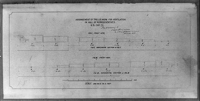 Arrangement of trellis work for ventilation in Hall of Representatives