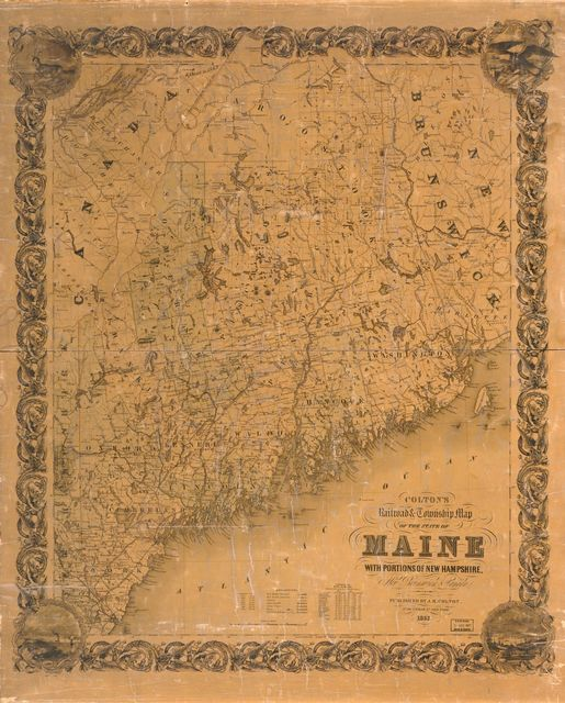 Colton's railroad & township map of the State of Maine, with portions of New Hampshire, New Brunswick & Canada /