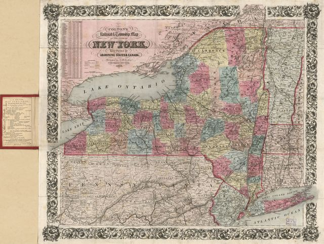 Colton's railroad & township map of the state of New York : with parts of the adjoining states & Canada /