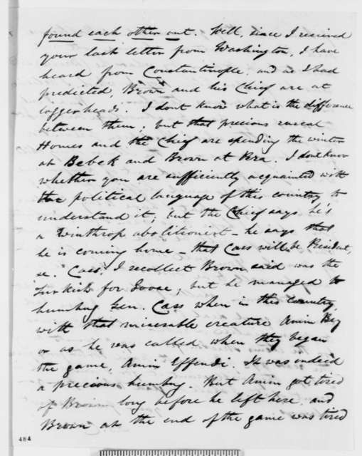 Dabney S. Carr to C. Oscanyon, Saturday, February 07, 1852  (Diplomatic business)