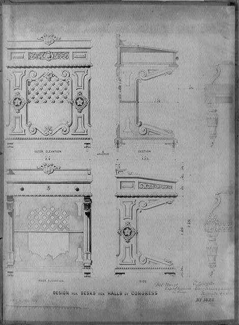 Design for desks for Halls of Congress