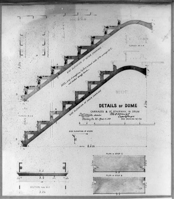"""Details of dome, carriages """"a"""" of stairway in drum"""