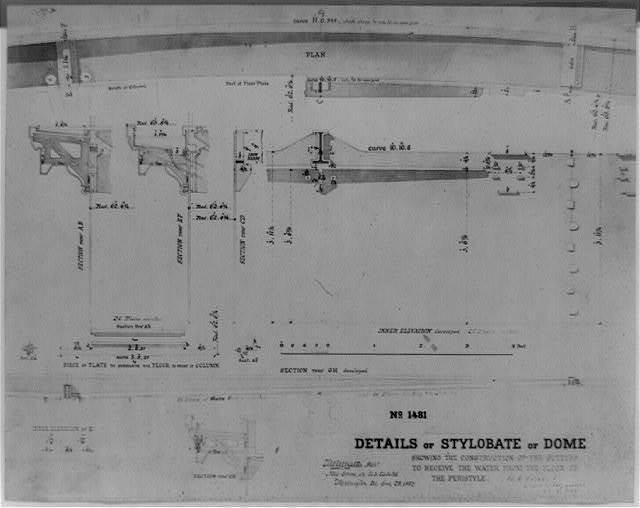 Details of stylobate of dome