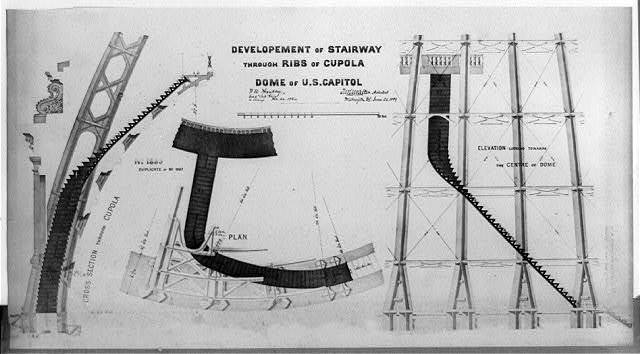Development of stairway through ribs of coupola, dome of [U.S.] Capitol