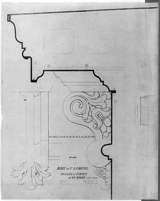 Dome of U.S. Capitol, details of cornice, second story