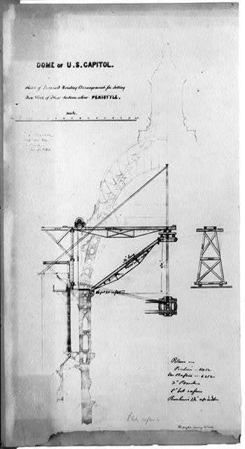 Dome of U.S. Capitol, sketch of proposed hoisting arrangement for setting iron work ...