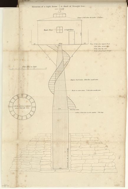 Elevation of a light house & shaft of wrought iron