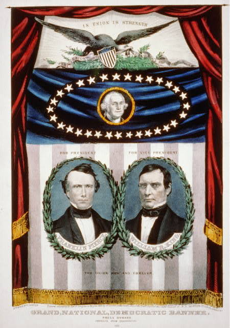 Grand, national, democratic banner - press onward - portraits from daguerreotype / lith. & pub. by N. Currier.