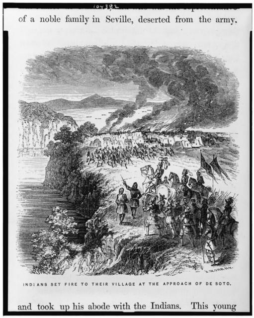 Indians set fire to their village at the approach of de Soto / J.W. Orr, N.Y.