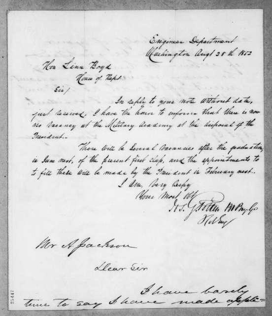 Linn Boyd to Andrew Jackson, Jr., August 28, 1852