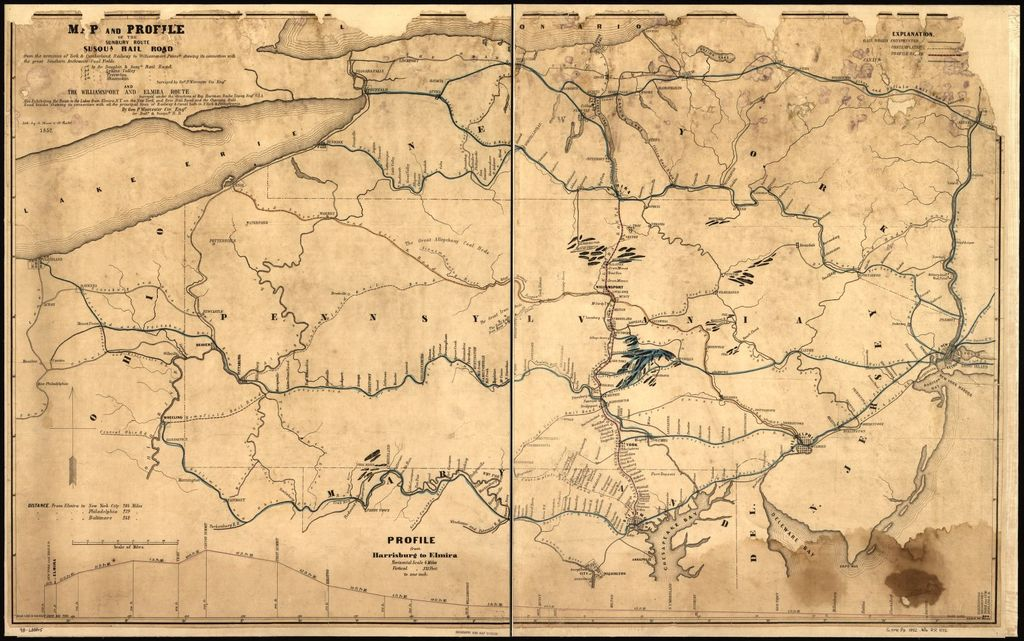Map and profile of the Sunbury route Susqua. Rail Road from the terminus of York & Cumberland Railway to Williamsport Pennsa. showing its connection with the great southern anthracite coal fields; 1st by the Dauphin & Susqa. Rail Road, 2d by the Lykins Valley Rail Road, 3d by the Treverton Rail Road, 4th by the Shamokin Rail Road, surveyed by Geo. P. Worcester, Civ. Engr. and the Williamsport and Elmira Route surveyed under the directions of Maj. Hartman Bache Topog. Engr. U.S.A., by Geo. P. Worcester Civ. Engr. for Balto. & Susqua. R.R.