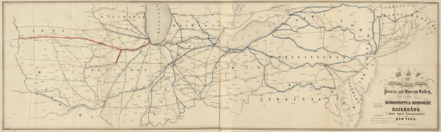 Map of Chicago & Rock Island, Peoria and Bureau Valley, and Mississippi & Missouri railroads; with their connections to New York.