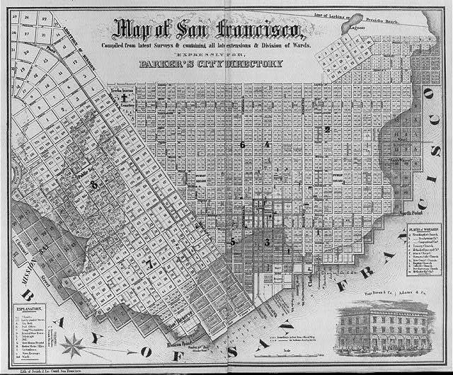 Map of San Francisco...for Banker's City Directory