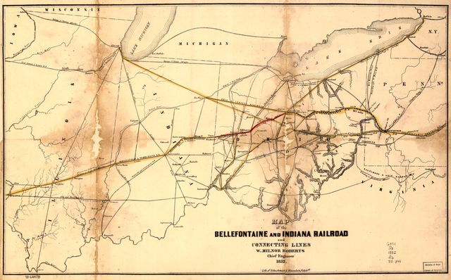 Map of the Bellefontaine and Indiana Railroad and connecting lines.