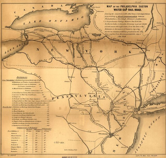 Map of the Philadelphia, Easton & Water Gap Rail Road.